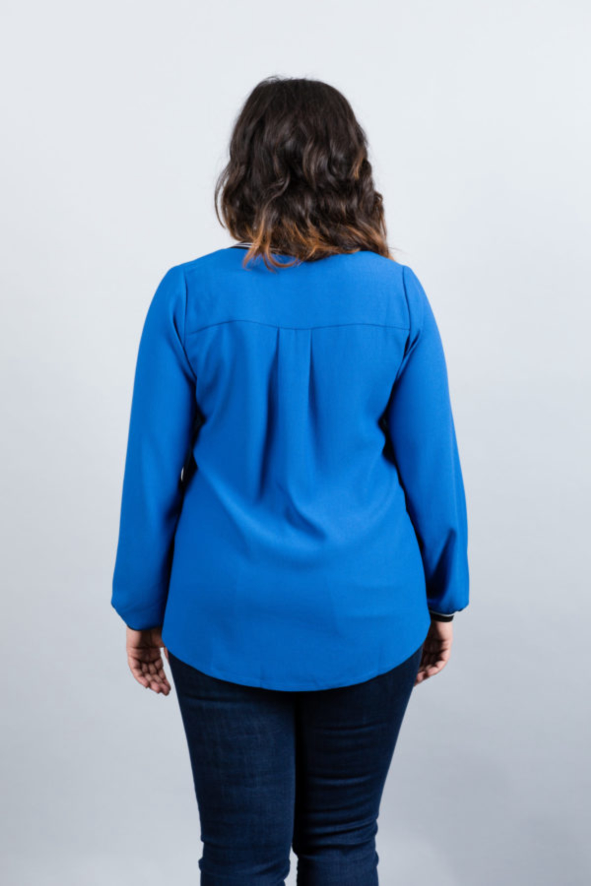 """Royal blue """"LONDON"""" blouse with striped collar and cuffs"""