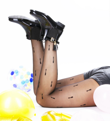 """""""Flaura"""" Tights with feathery arrow pattern Black 20D"""