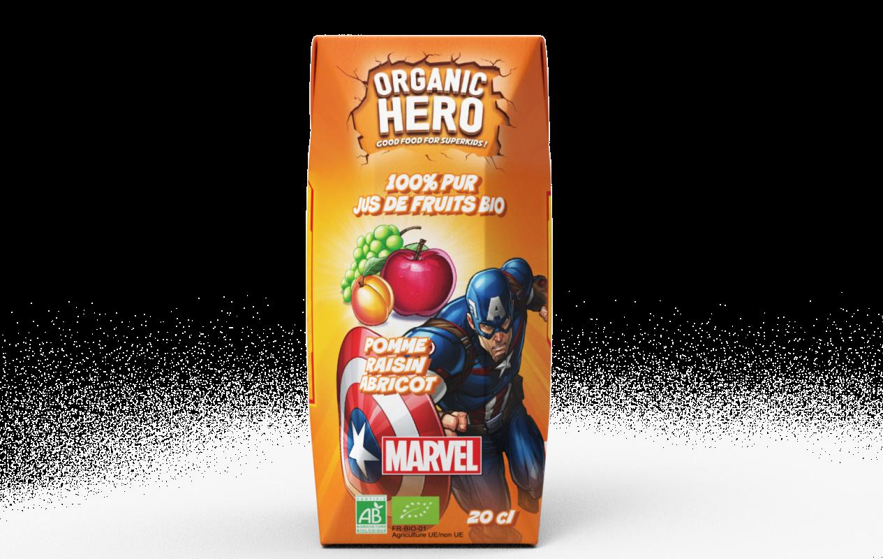 Jus bio Pomme Raisin Abricot - Organic Hero pour Captain America