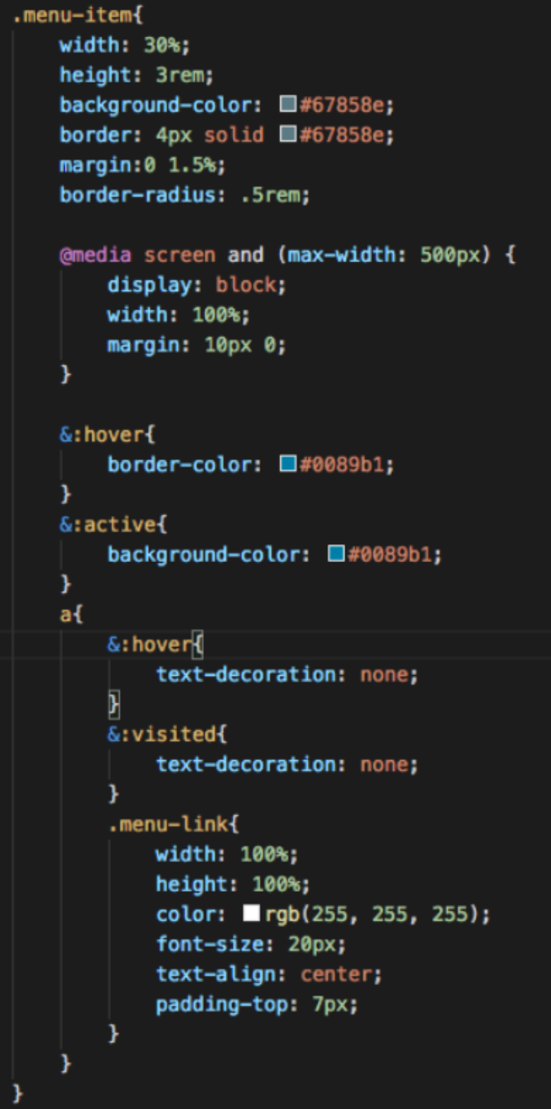 SCSS Menu and effects